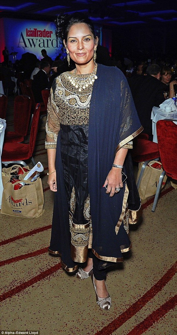 Ms Patel (pictured), 43, is the daughter of Indian Gujaratis who fled to Britain from Uganda in the 1970s to escape dictator Idi Amin