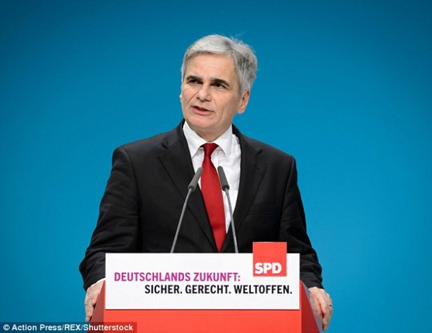 Return policy: Austrian Chancellor Werner Faymann said border police should send all refugees and migrants trying to enter the EU back to Turkey as this is the only measure that would make enough of an impact