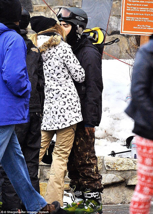 Just fun: Joe and Jessica were snapped kissing during a trip to Mammoth Lakes, California with friends last month