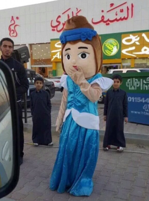 Cartoon capers: This mascot was arrested by Saudi's morality police for wearing a costume depicting a woman showing skin in an apparent breach of the country's strict Islamic dress code