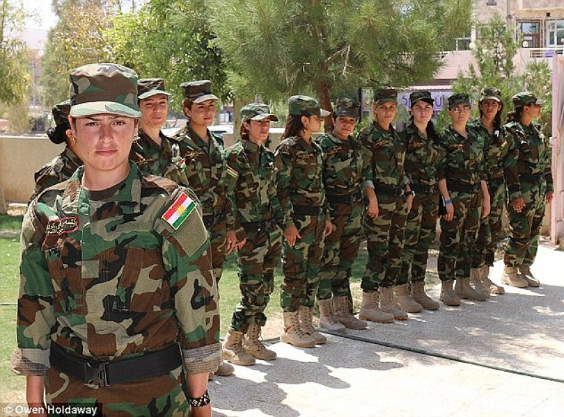 Revenge: Members of an all-female Yazidi battalion (pictured in August 2015) who call themselves the 'Force of the Sun Ladies' are preparing for a massive assault on their ISIS abusers. Hundreds of former ISIS sex slaves have joined the unit to launch an offensive on the terror group's stronghold of Mosul