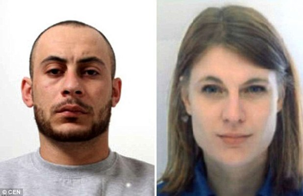 Police say Hassan Kiko (left) has escaped prison with the help of his lover, prison guard Angela Magdici (right)