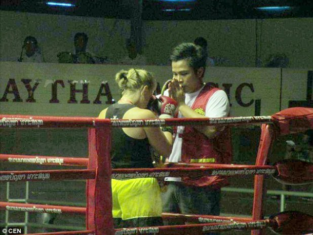 Police say the escape was professionally planned with the help of Angela Magdici, pictured here kickboxing