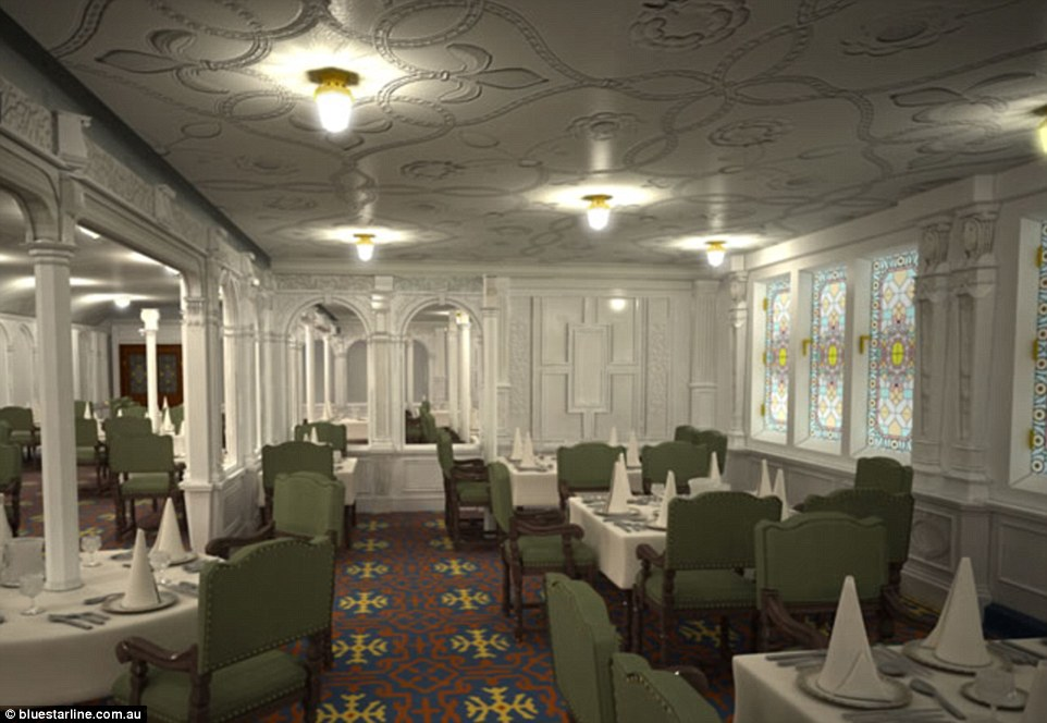 Plans for the first class dining saloon on board Titanic II call for it to be designed in the same Jacobean style as the original