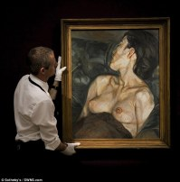 A tense bidding war ensued as the painting was offered publicly for the first time at Sotheby's Contemporary Art Auction in London. Despite initial estimates of between £7m and £10m, it was eventually sold to an anonymous bidder