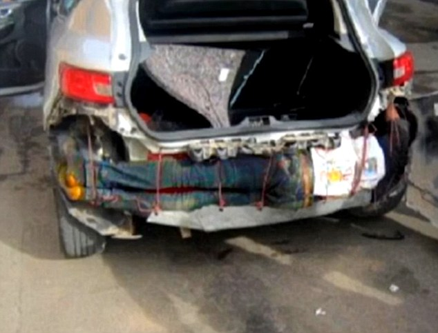 This migrant from Guinea was foundattempting to cross into Spain while tied underneath a car bumper