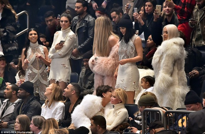 Fan club: Kanye's in-laws already knew all the words to his songs and sang and danced along. (L-R) Kourtney, Kendall, Lamar, Khloe, Kylie, North and Kim