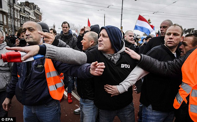 Anger: Members of the Dutch Pegida movement march through the city centre during a demonstration