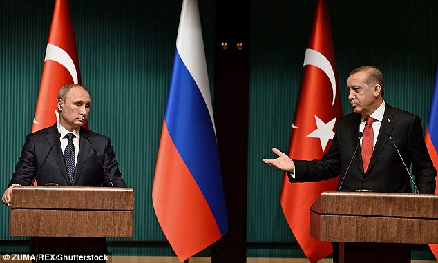 Syria is now the battleground for a proxy war between two regional powers, Russia or Turkey, or more particularly between their ego-fuelled presidents: Recep Erdogan (R) and Vladimir Putin (L)