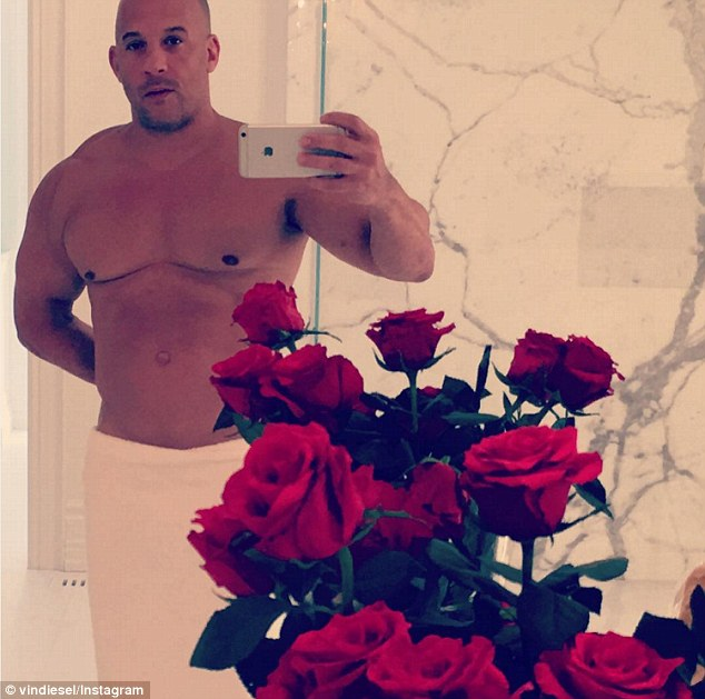 V day: Vin Diesel shared a shirtless Instagram snap of himself on Sunday wishing followers a Happy Valentine's Day
