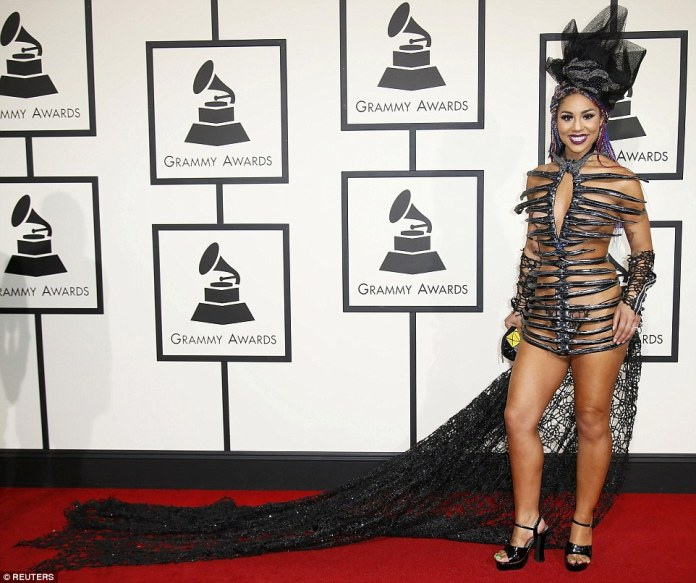 Baring it all (and then some): Singer Joy Villa wore a very risque ensemble which showed off far too much skin