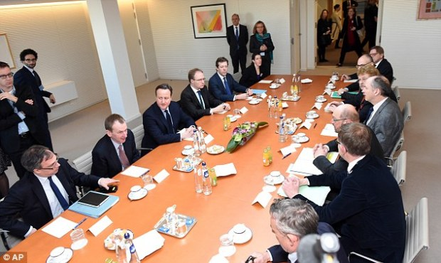As well as his meeting with Mr Schulz, pictured, Mr Cameron attended other discussions with senior MEPs at the Parliament in Brussels today