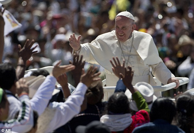 Pope Francis was surrounded by thousands of pilgrims after celebrating Mass in San Cristobal de las Casas