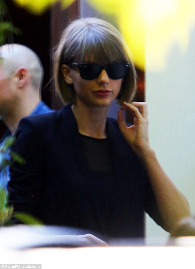 Keeping it cool: Taylor Swift was spotted out at Cecconi's in the West Hollywood neighbourhood of Los Angeles on Tuesday