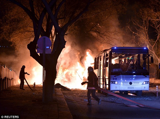 Horror: At least 28 people are dead and 61 others injured in an explosion believed to have been caused by a car bomb in the Turkish capital of Ankara