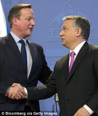 Mr Cameron has travelled far on wide during his talks, including to Hungary to meet Viktor Orban in January, pictured right