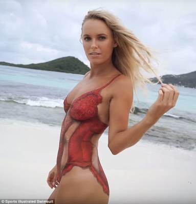 Bathing beauty: Tennis star Caroline Wozniacki spent 15 hours having this sexy red swimsuit painted on to her body for her stunning shoot featured in the 2016 Sports Illustrated Swimsuit Issue