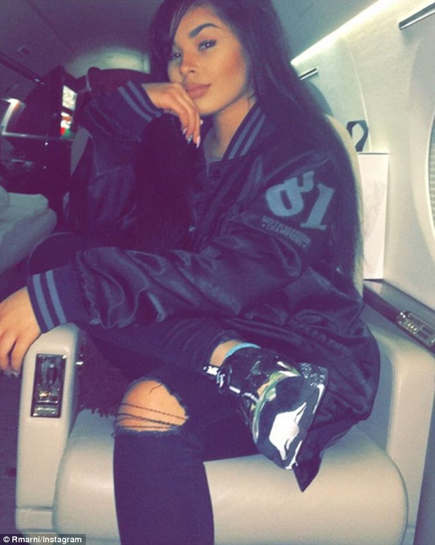 Living the high life: The 19-year-old posted this photograph, apparently taken inside Mayweather's £40million private jet, with the caption 'jet life'. She is understood to have joined the boxer in New York and Los Angeles