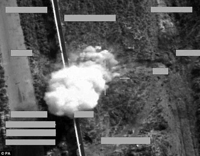 An air strike from a RAF Tornado jet hits an ISIS armed pick-up truck with a Brimstone missile  in Iraq. None of the strikes in Syria involved the high-precision Brimstone, which was cited by Prime Minister David Cameron as the kind of UK asset which would make a 'meaningful difference' to the coalition's campaign