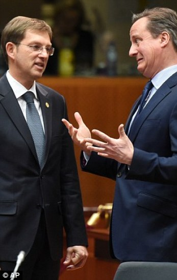 Mr Cameron made an anxious expression in conversation withSlovenian Prime Minister Miro Cerar, pictured today as the talks began
