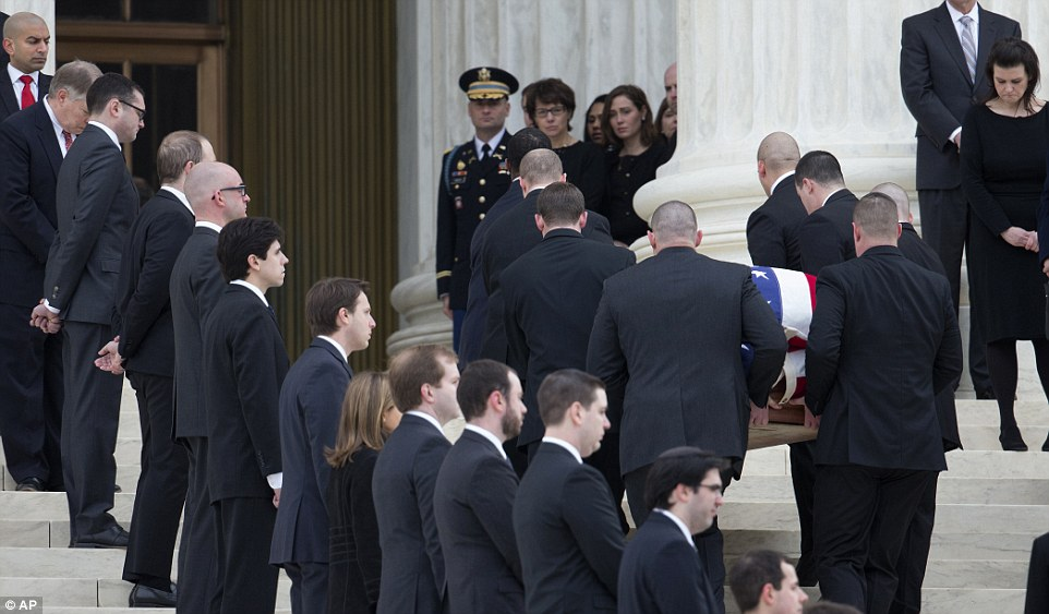 Thousands are expected to pay their respects to Scalia at the Supreme Court after his body's arrival, where it was flanked by 180 law clerks