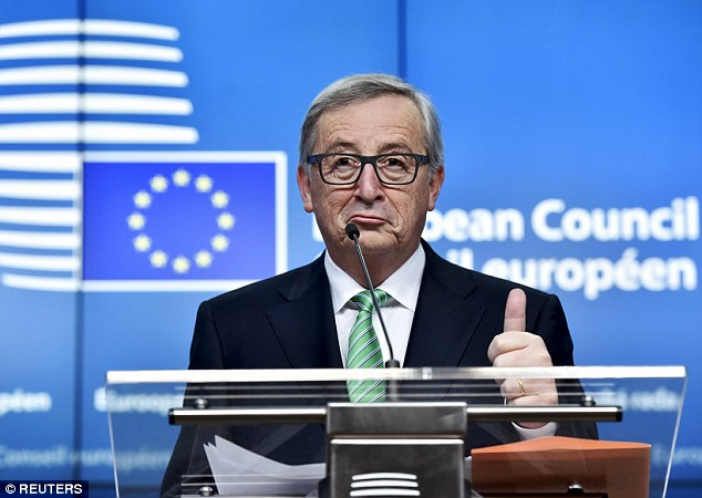 European Commission President Jean-Claude Juncker gestures during a news conference after the second day of a European Union leaders' summit addressing talks about the so-called Brexit