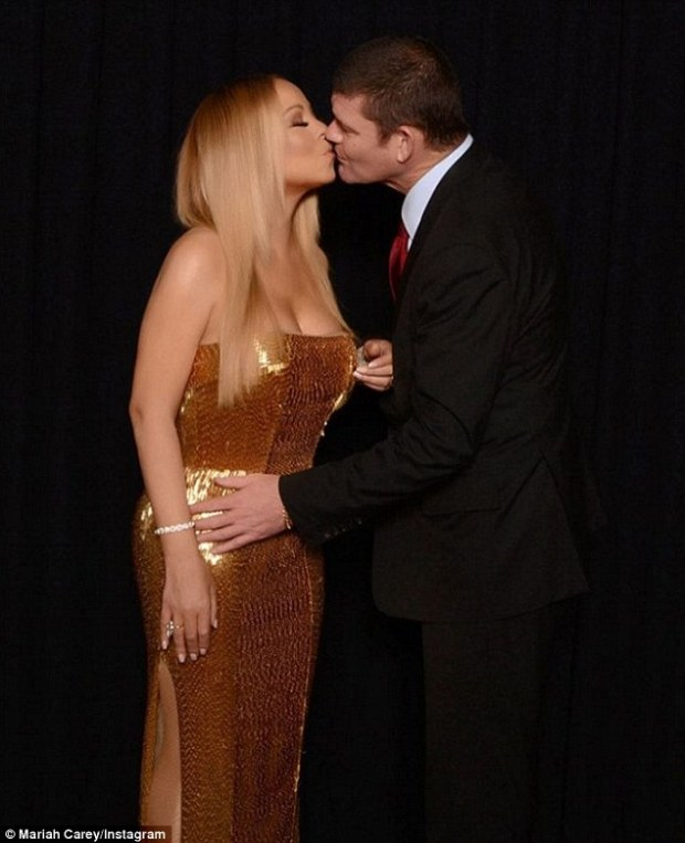 Third time's a charm? Noticeably missing from the party was Mariah's fiancé James Packer, who popped the question with a 35-carat ring on January 21