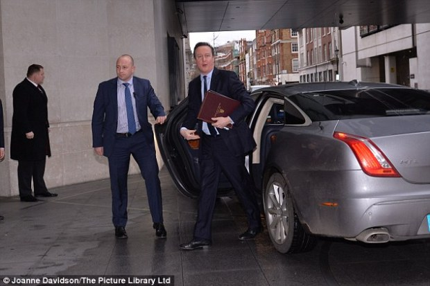 The Prime Minister, pictured arriving at the BBC studios for his Andrew Marr appearance this morning, said the Out campaign had made 'no effort' to plan for a post-EU Britain