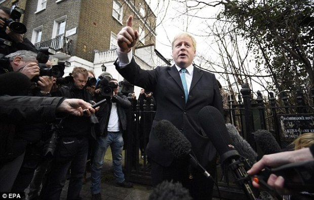 Announcement: He spoke in Islington just nine minutes after texting the Prime Minister to confirm his decision