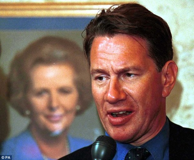 Never recovered: Thatcherite minister Michael Portillo (pictured next to a portrait of his former leader) 20 years ago seemed destined to be Tory leader but fatally delayed deciding whether to stand in 1995