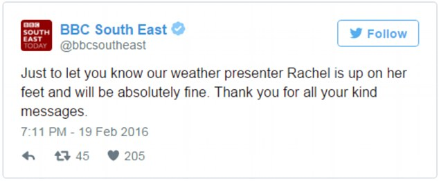 BBC South East took to Twitter to confirm that weather forecaster Ms Mackley was fine following the incident