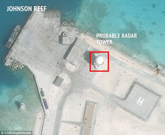 A satellite image released by the Asian Maritime Transparency Initiative at Washington's Center for Strategic and International Studies shows construction of possible radar tower facilities in the Spratly Islands