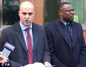 DCI Martin Tait (left)  and Ian Thomas, Strategic Director Children and Young People's Services (right), speak outside court on Wednesday