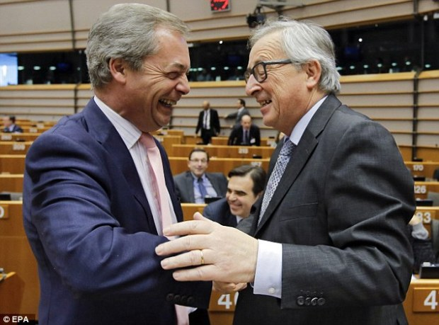 Ukip leader Nigel Farage, left with Mr Junker in the parliament today, refused to be drawn on whether he would quit politics if Britain votes to stay in Europe on June 23