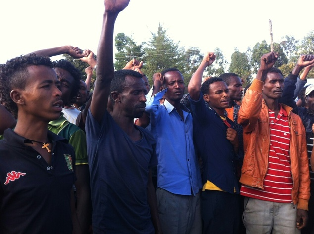 Demonstrators call for an end to killings in Wolenkomi, west of Addis Ababa, after police shot dead at least four people. during a demonstration