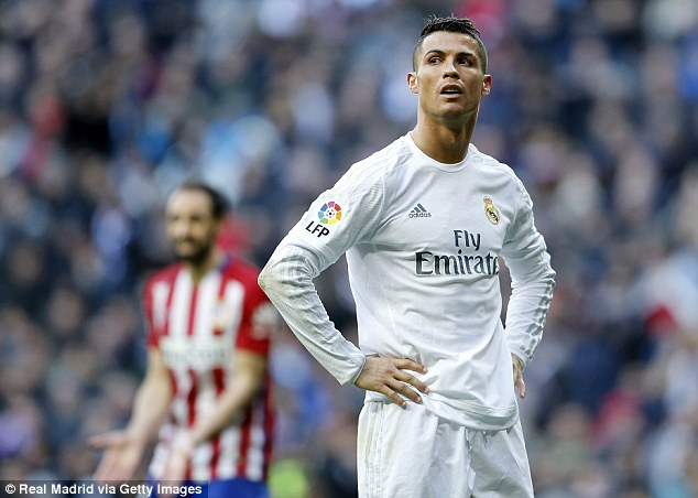 Real Madrid's Cristiano Ronaldo cuts a frustrated figure during his side's derby loss to Atletico Madrid