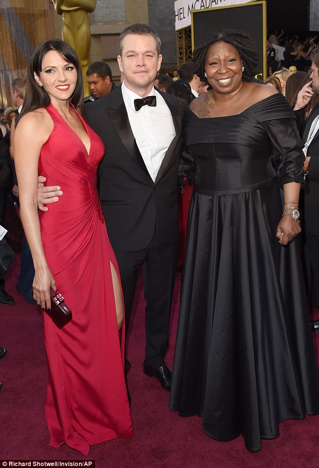 Star-studded: Matt and Luciana smiled as they caught up with Whoopi Goldberg