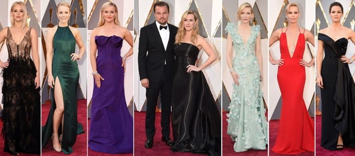 Oscars 2016 red carpet sees Jennifer Lawrence and Brie Larson take the plunge