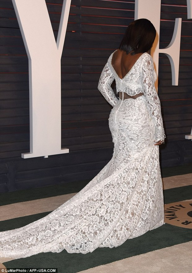 Looking good: The lace garment made the most of Serena's amazing curves and toned physique