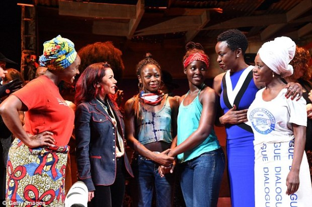 Taking the spotlight: In Eclipsed, Lupita stars as the newcomer to a community - here she is pictured at the preview beside Saycn Sengbloh, Daphne Rubin-Vega, Zainab Jah, Lupita playwright Danai Gurira, and Akosua Busia
