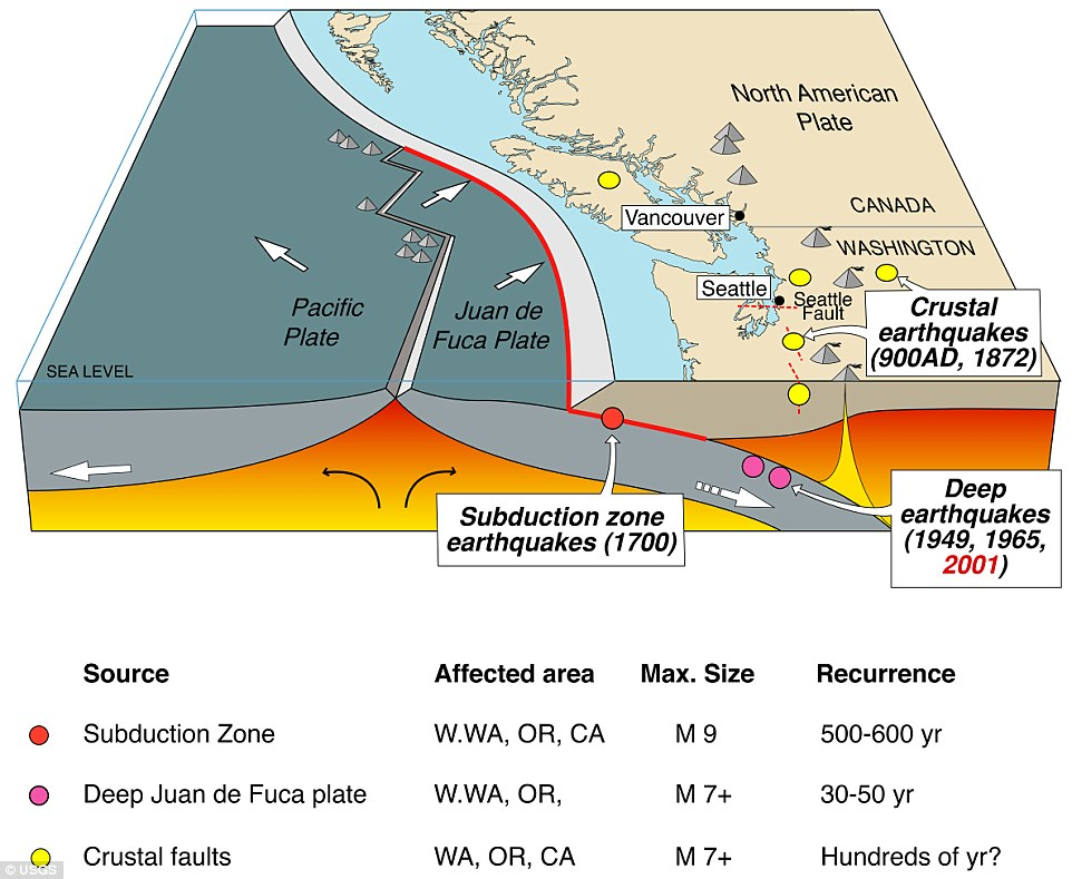 The San Andreas Fault in California, has a quieter, far more dangerous cousin that could make itself known at any moment. Running from Northern California to British Columbia, the Cascadia subduction zone can deliver a quake that's many times stronger than San Andreas