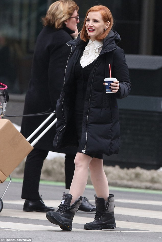 Jessica Chastain Sips Coffee Through A Straw On Set Of