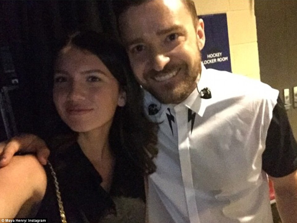 Justified: Maya, pictured with singer Justin Timberlake, has more than 18,000 followers on Instagram