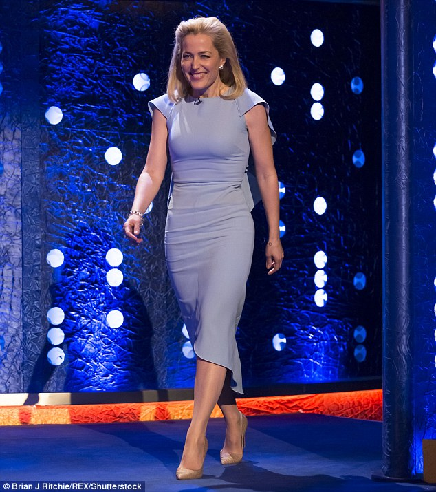 Not feeling blue: The Dana Scully actress looked sensational in a pale blue midi dress for her latest TV appearance