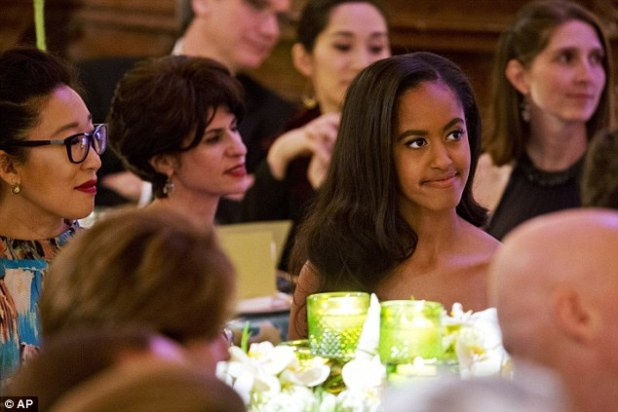 The elder of the Obama daughters wore her hair in loose curls over one shoulder at the event in honour of Canada