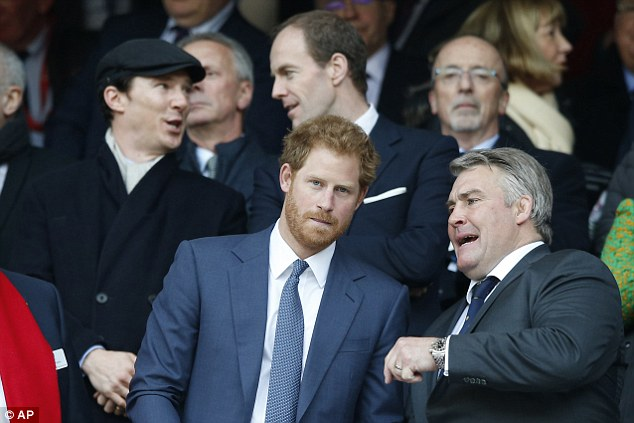 Keeping score: Both Benedict and Harry enjoyed a brief chat during the plays
