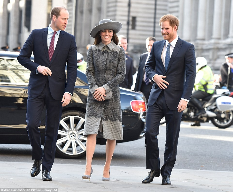 Both the Duke and Duchess of Cambridge and Prince Harry (pictured) joined the monarch and her husband Prince Philip this afternoon for one of the highlights of her calendar, the annual Commonwealth Service at Westminster Abbey