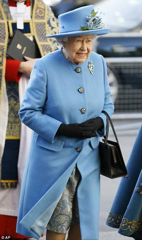 The Queen (pictured arriving at Westminster Abbey) remains sovereign of 15 realms in addition to the UK