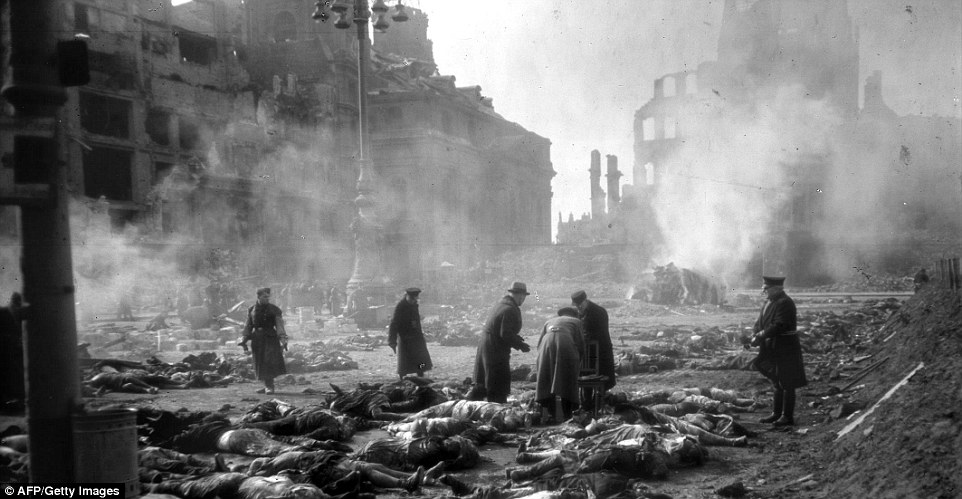 Damage: This picture shows the city of Dresden in February 1945 after a campaign of bombing by the Allies