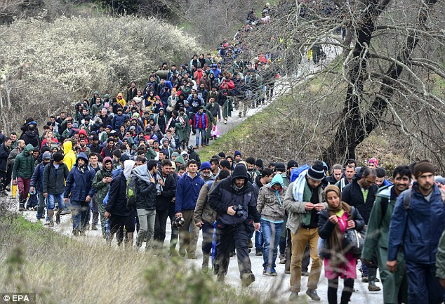 Border chiefs have already said the continent faces an influx of one million arrivals this year, similar to the number who travelled in 2015 (pictured, migrants near the Idomeni migrant camp in Greece)